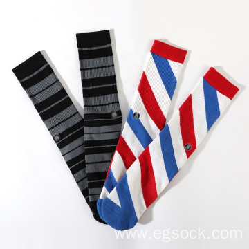 custom embroidery jacquard novelty striped socks